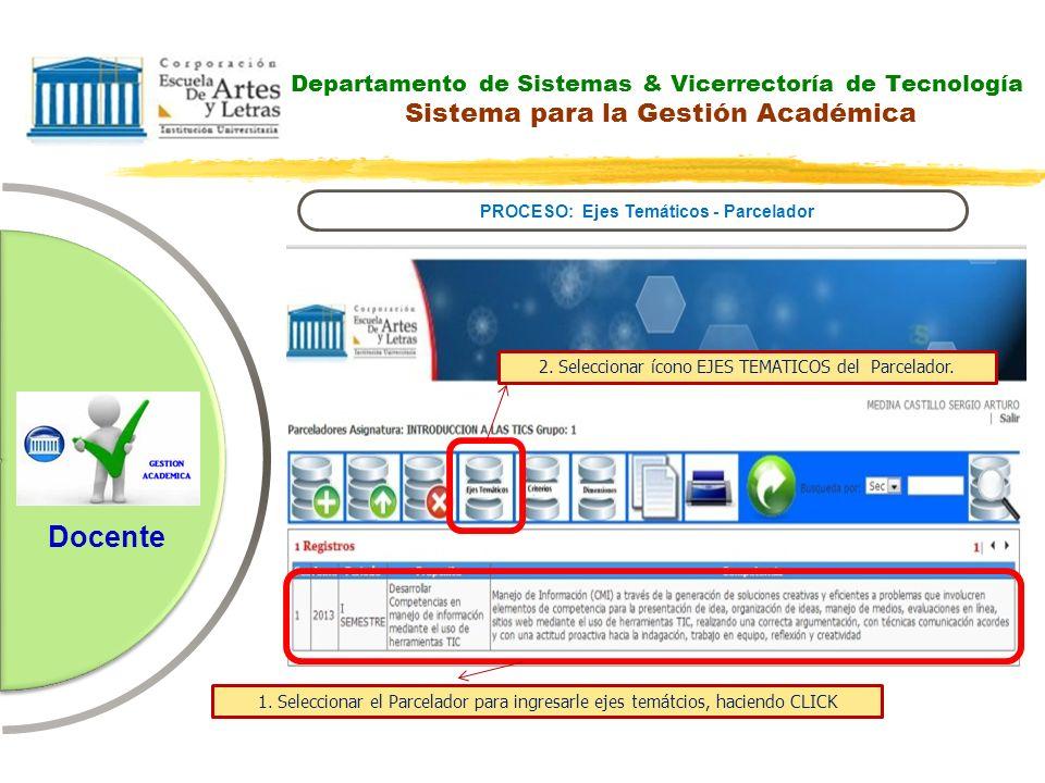 Departamento de Sistemas & Vicerrectoría de Tecnología Sistema para la Gestión Académica PROCESO: Ejes Temáticos - Parcelador Docente 2. Seleccionar í