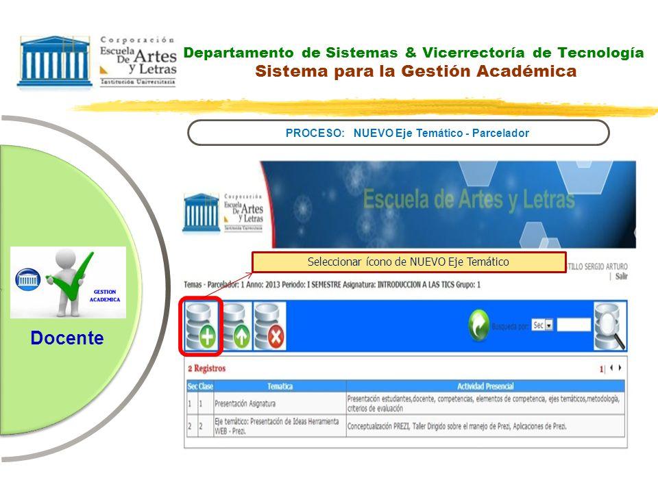 Departamento de Sistemas & Vicerrectoría de Tecnología Sistema para la Gestión Académica PROCESO: NUEVO Eje Temático - Parcelador Docente Seleccionar