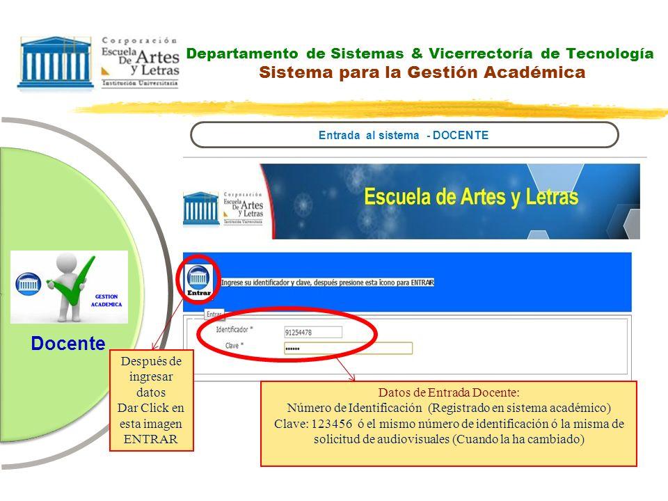 Departamento de Sistemas & Vicerrectoría de Tecnología Sistema para la Gestión Académica Entrada al sistema - DOCENTE Datos de Entrada Docente: Número