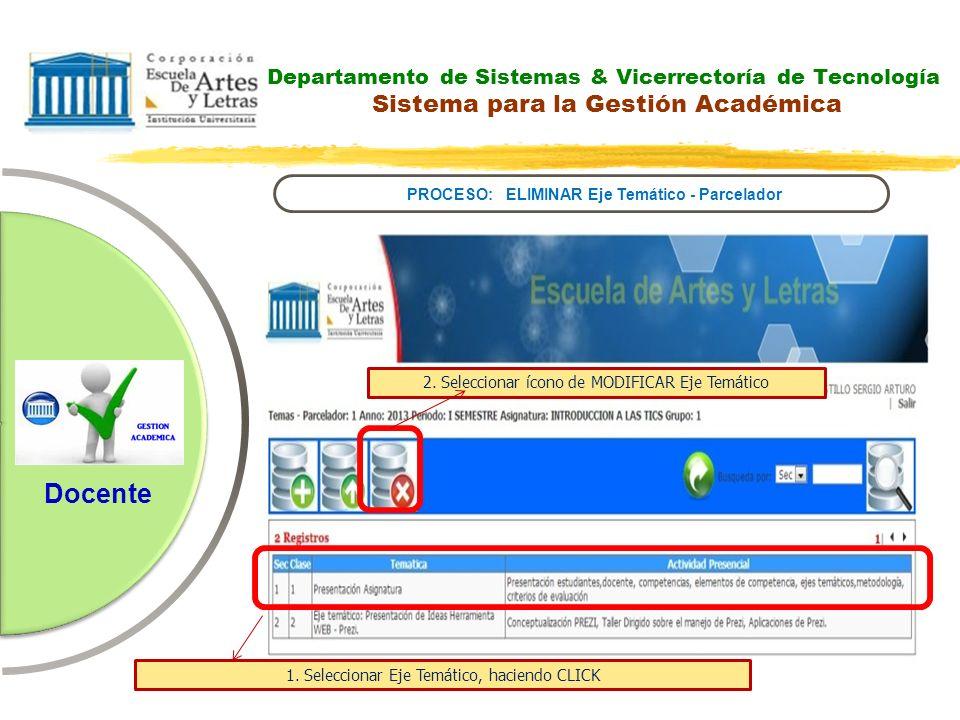 Departamento de Sistemas & Vicerrectoría de Tecnología Sistema para la Gestión Académica PROCESO: ELIMINAR Eje Temático - Parcelador Docente 2. Selecc