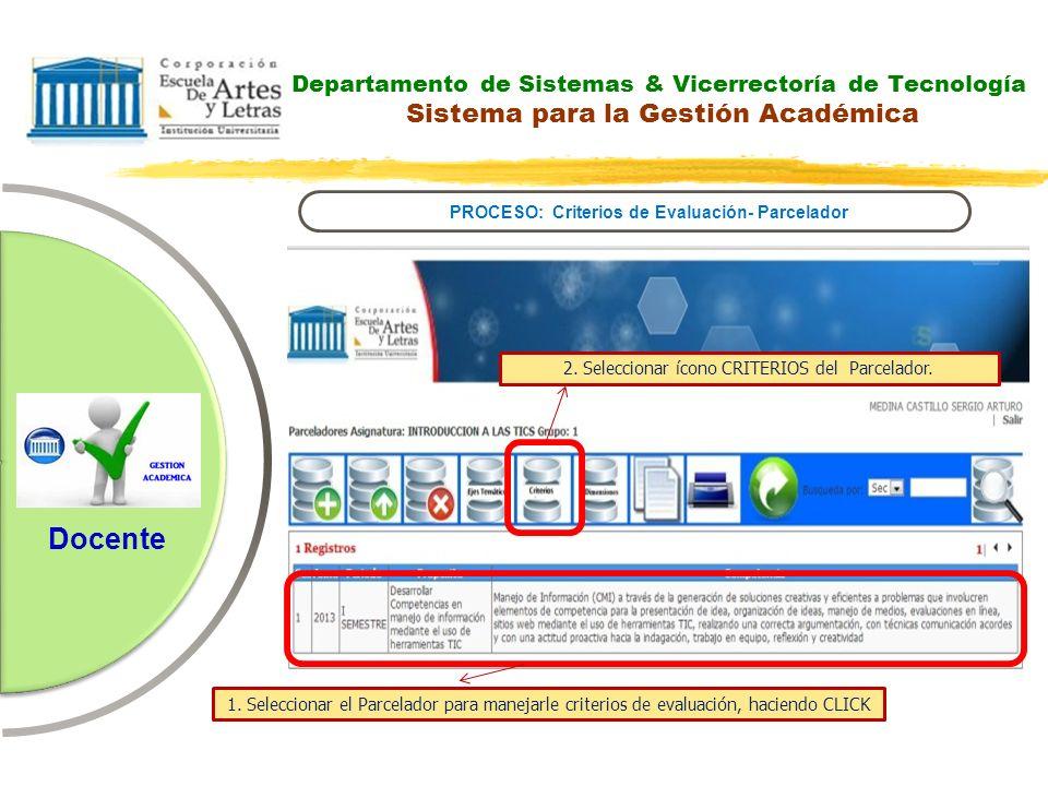 Departamento de Sistemas & Vicerrectoría de Tecnología Sistema para la Gestión Académica PROCESO: Criterios de Evaluación- Parcelador Docente 2. Selec