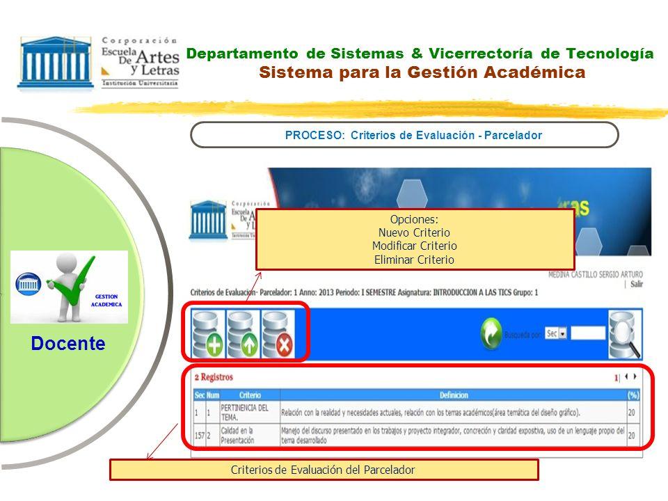 Departamento de Sistemas & Vicerrectoría de Tecnología Sistema para la Gestión Académica PROCESO: Criterios de Evaluación - Parcelador Docente Opcione