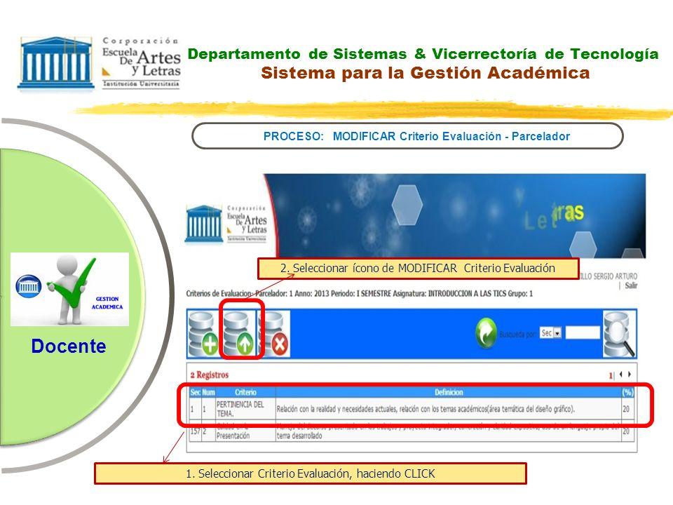 Departamento de Sistemas & Vicerrectoría de Tecnología Sistema para la Gestión Académica PROCESO: MODIFICAR Criterio Evaluación - Parcelador Docente 2