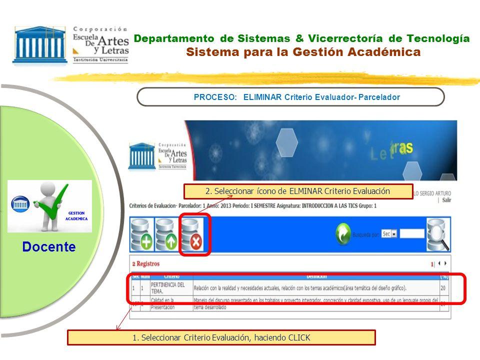 Departamento de Sistemas & Vicerrectoría de Tecnología Sistema para la Gestión Académica PROCESO: ELIMINAR Criterio Evaluador- Parcelador Docente 2. S