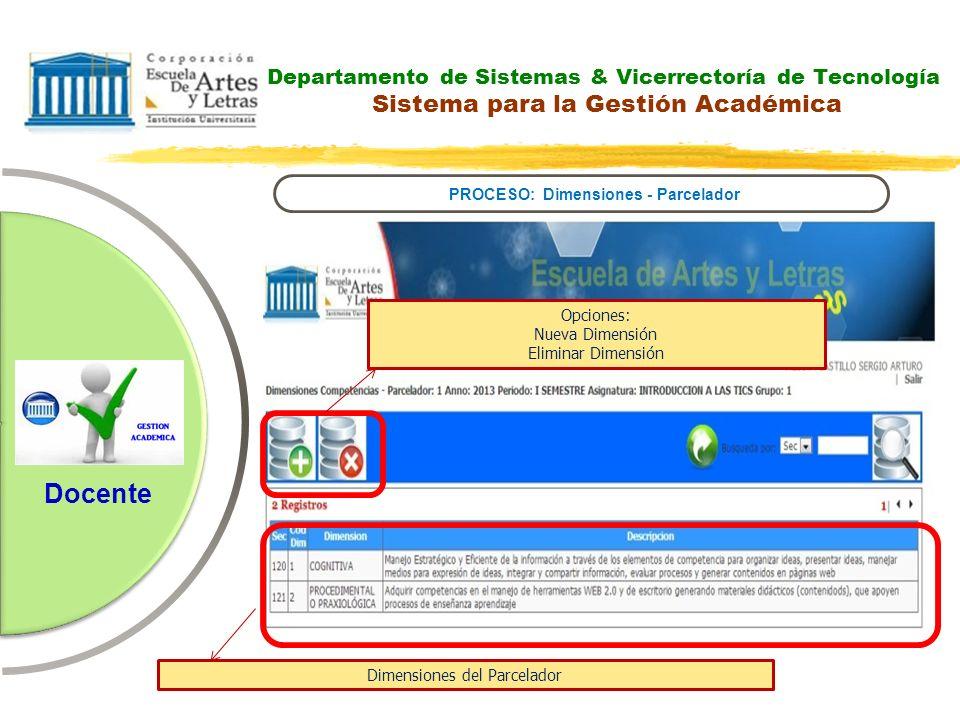 Departamento de Sistemas & Vicerrectoría de Tecnología Sistema para la Gestión Académica PROCESO: Dimensiones - Parcelador Docente Opciones: Nueva Dim
