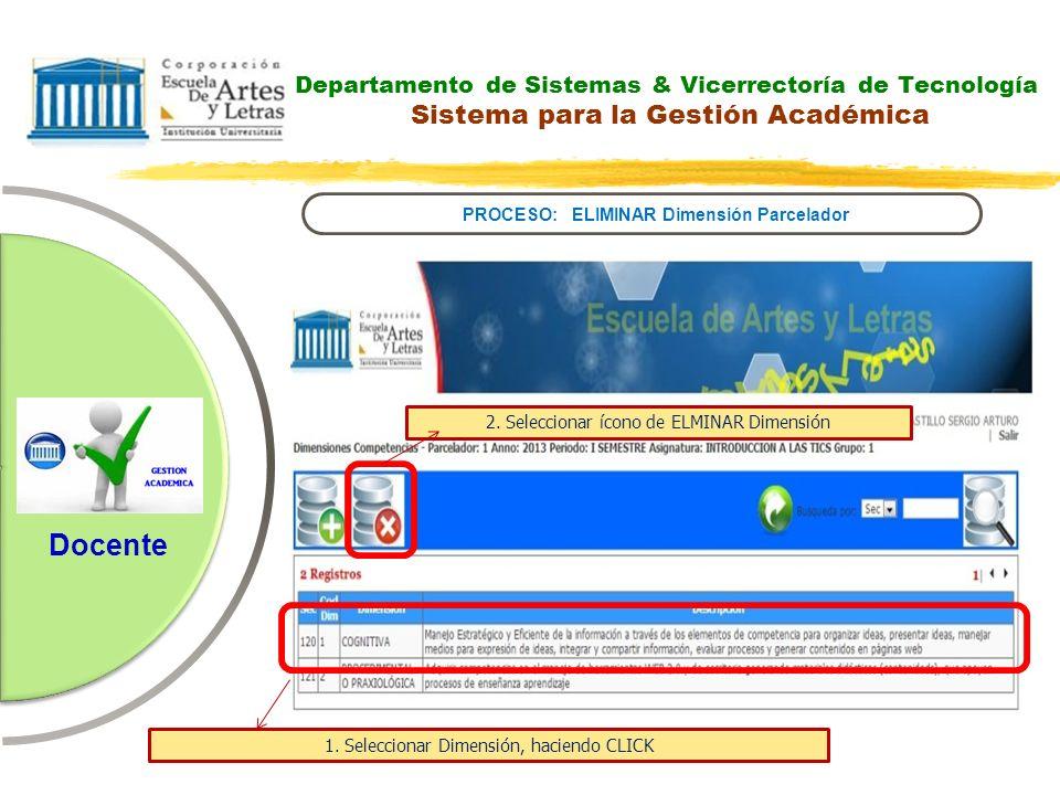Departamento de Sistemas & Vicerrectoría de Tecnología Sistema para la Gestión Académica PROCESO: ELIMINAR Dimensión Parcelador Docente 2. Seleccionar