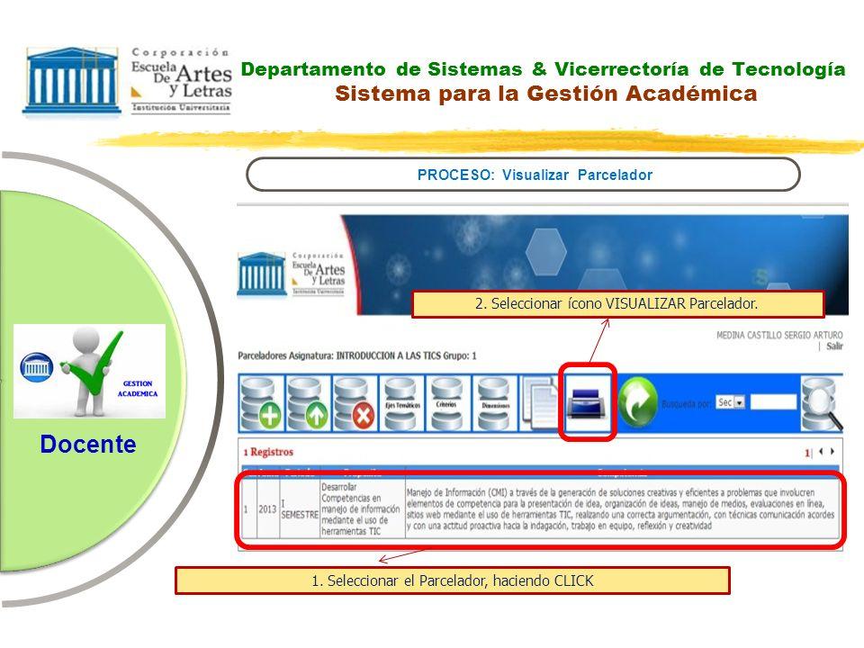 Departamento de Sistemas & Vicerrectoría de Tecnología Sistema para la Gestión Académica PROCESO: Visualizar Parcelador Docente 2. Seleccionar ícono V