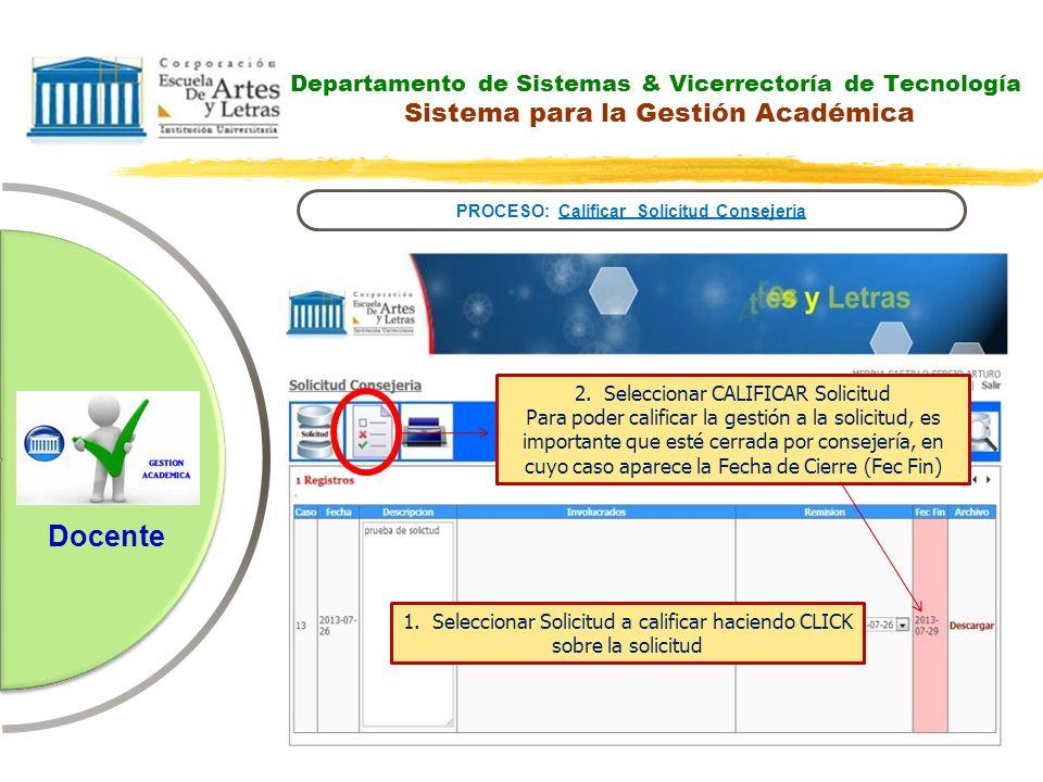 Departamento de Sistemas & Vicerrectoría de Tecnología Sistema para la Gestión Académica PROCESO: Calificar Solicitud Consejería Docente 2. Selecciona