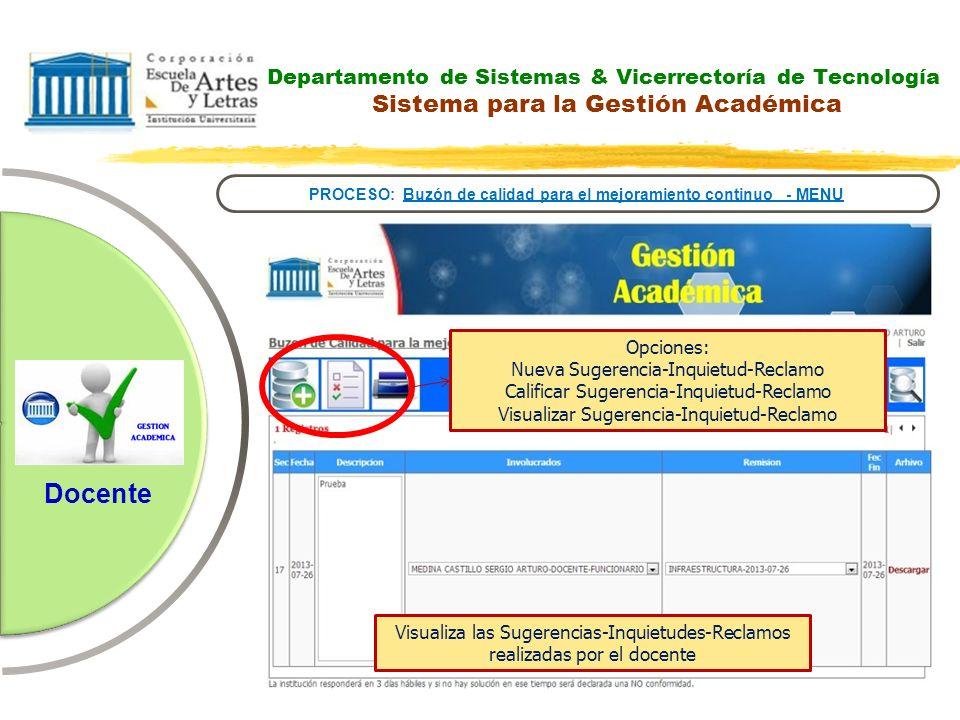 Departamento de Sistemas & Vicerrectoría de Tecnología Sistema para la Gestión Académica PROCESO: Buzón de calidad para el mejoramiento continuo - MEN