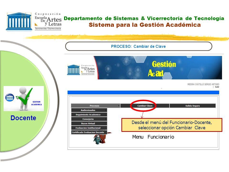 Departamento de Sistemas & Vicerrectoría de Tecnología Guía Calificación Docente PROCESO: Cambiar de Clave Docente 1.