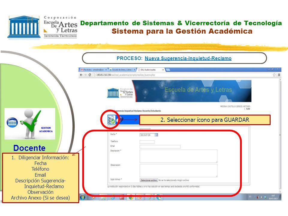 Departamento de Sistemas & Vicerrectoría de Tecnología Sistema para la Gestión Académica PROCESO: Nueva Sugerencia-Inquietud-Reclamo Docente 2. Selecc