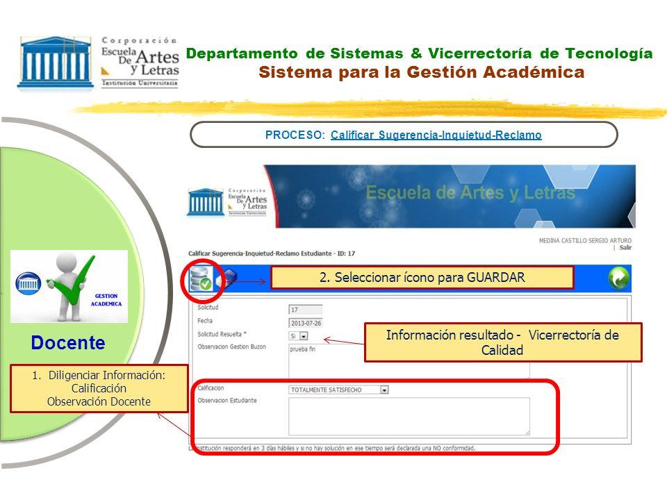 Departamento de Sistemas & Vicerrectoría de Tecnología Sistema para la Gestión Académica PROCESO: Calificar Sugerencia-Inquietud-Reclamo Docente 2. Se