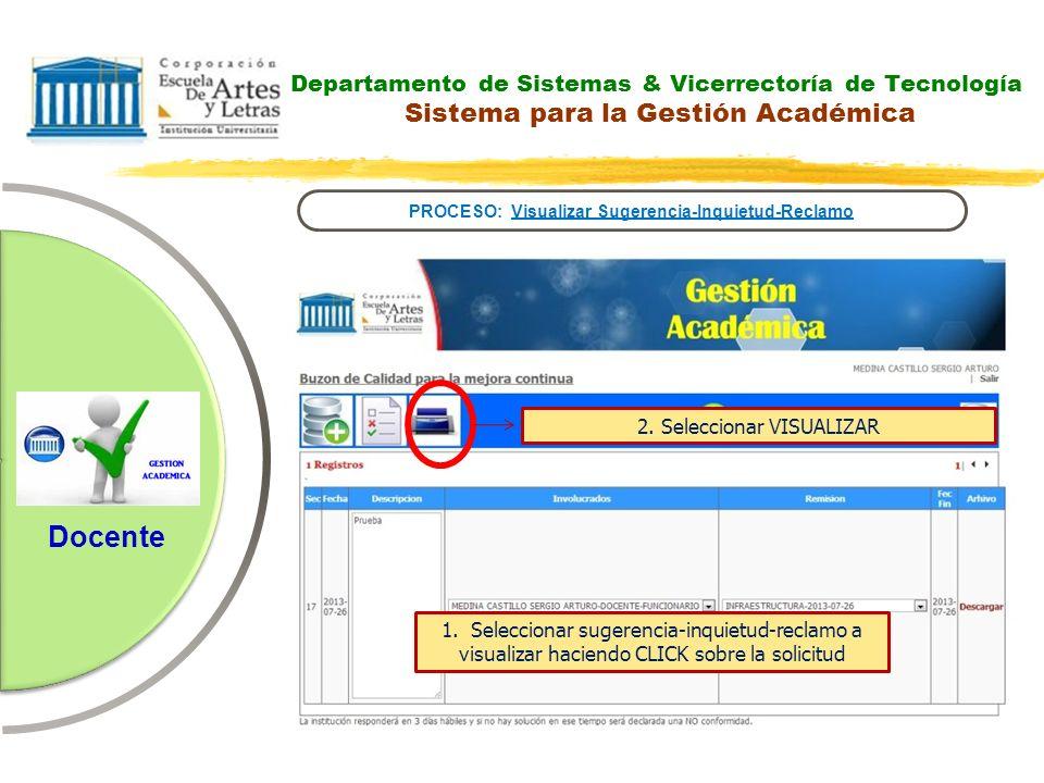 Departamento de Sistemas & Vicerrectoría de Tecnología Sistema para la Gestión Académica PROCESO: Visualizar Sugerencia-Inquietud-Reclamo Docente 2. S
