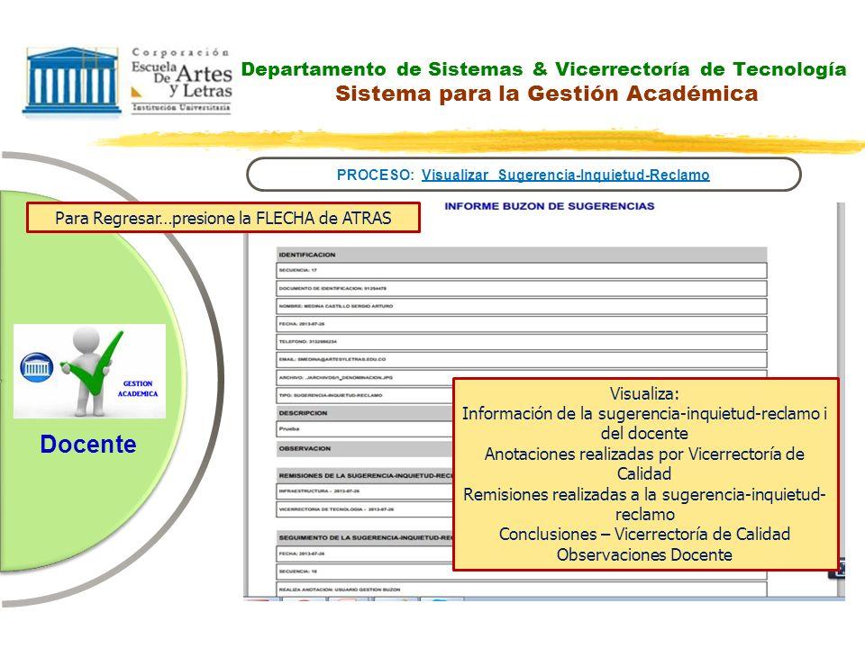 Departamento de Sistemas & Vicerrectoría de Tecnología Sistema para la Gestión Académica PROCESO: Visualizar Sugerencia-Inquietud-Reclamo Docente Para