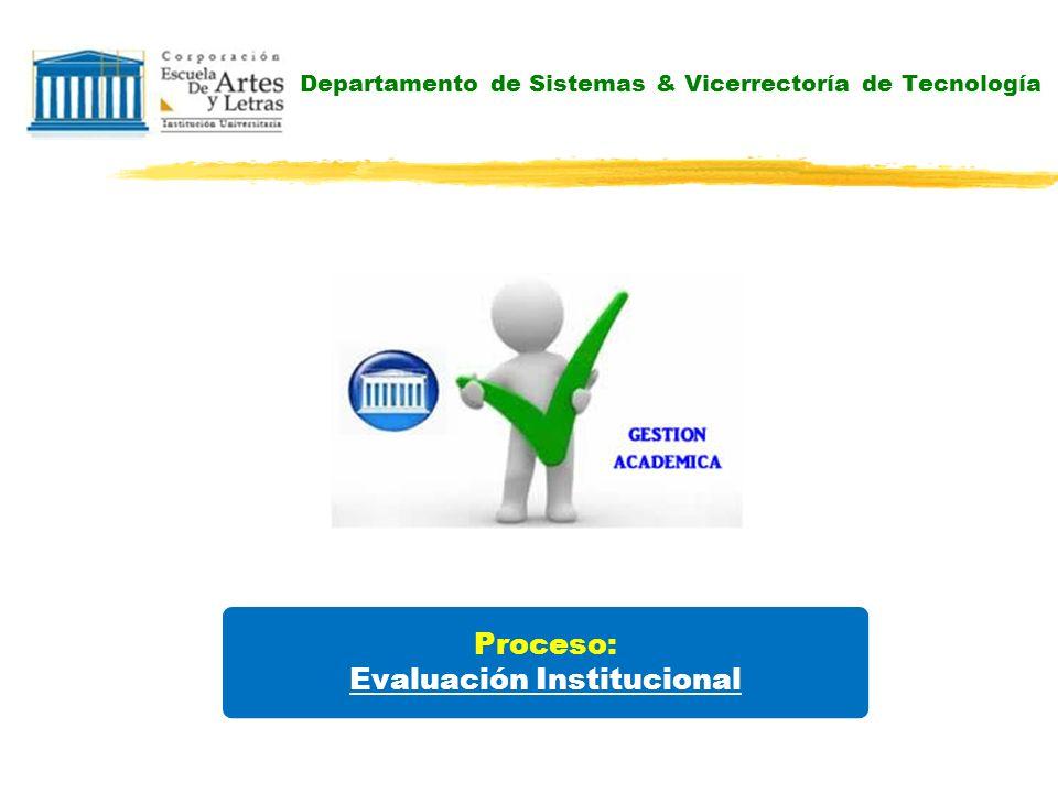 Departamento de Sistemas & Vicerrectoría de Tecnología Proceso: Evaluación Institucional