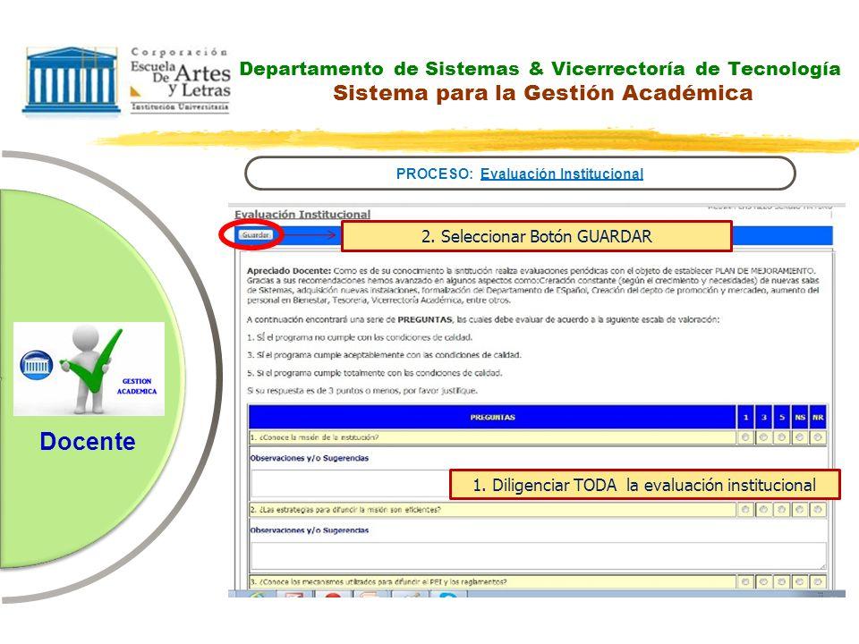 Departamento de Sistemas & Vicerrectoría de Tecnología Sistema para la Gestión Académica PROCESO: Evaluación Institucional Docente 1. Diligenciar TODA