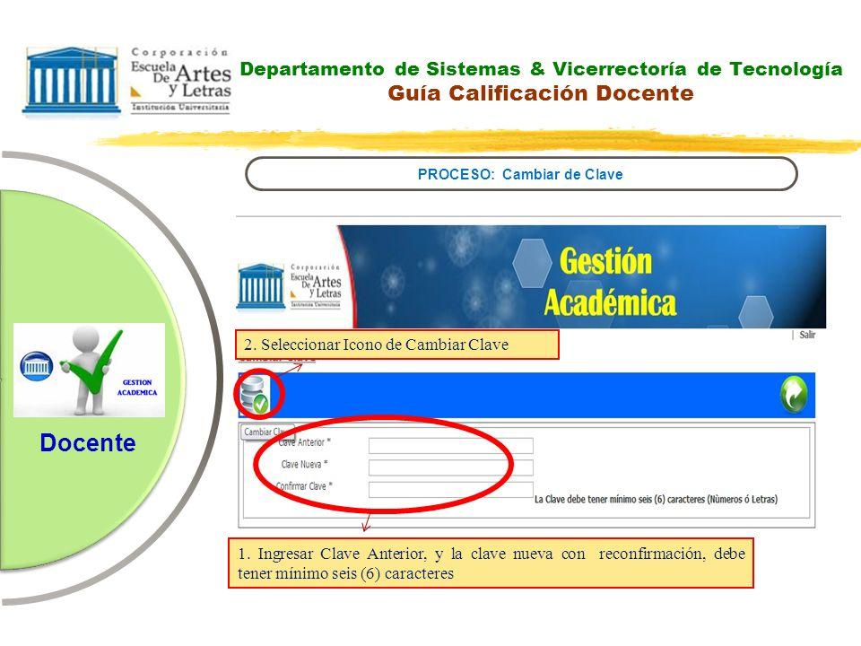 Departamento de Sistemas & Vicerrectoría de Tecnología Sistema para la Gestión Académica PROCESO: Evaluación Institucional Docente 1.