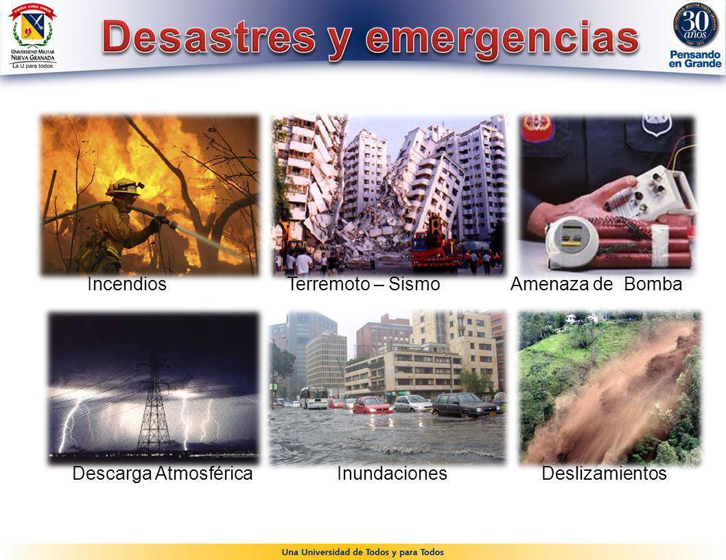 Incendios Terremoto – Sismo Amenaza de Bomba Descarga Atmosférica Inundaciones Deslizamientos