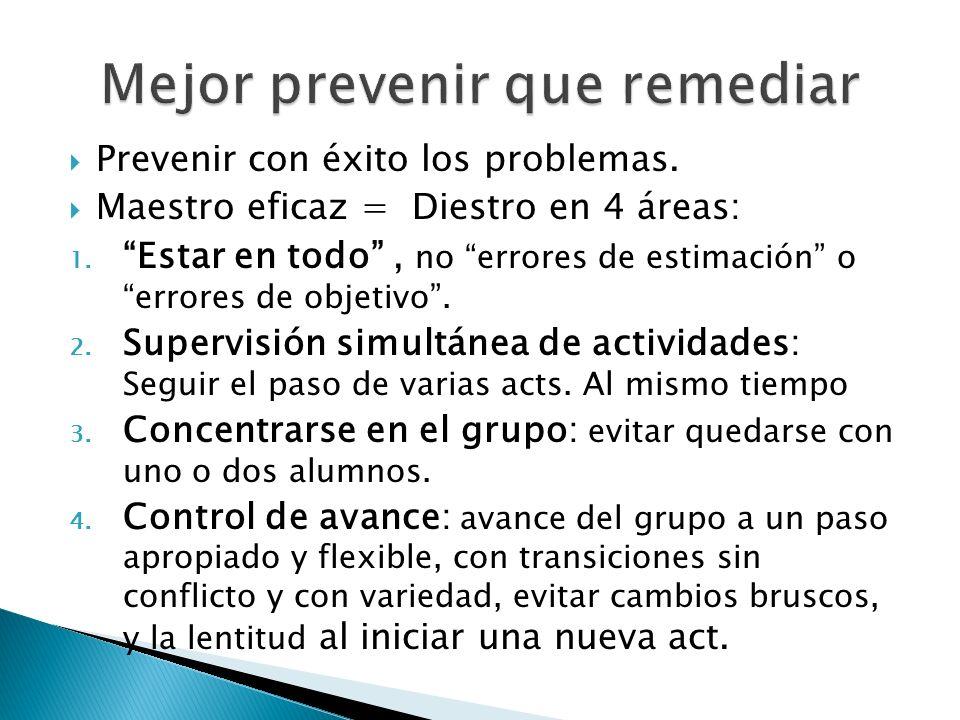 Prevenir con éxito los problemas. Maestro eficaz = Diestro en 4 áreas: 1. Estar en todo, no errores de estimación o errores de objetivo. 2. Supervisió