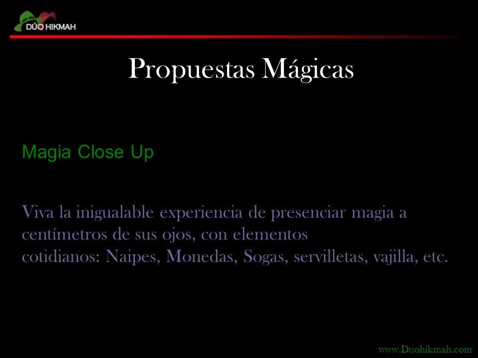 Magia Close Up Viva la inigualable experiencia de presenciar magia a centímetros de sus ojos, con elementos cotidianos: Naipes, Monedas, Sogas, servilletas, vajilla, etc.