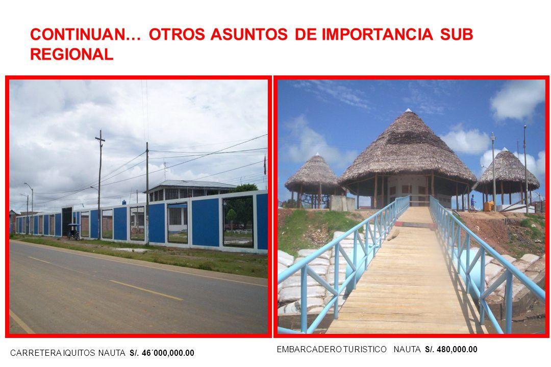 IV. OTROS ASUNTOS DE IMPORTANCIA SUB REGIONAL. VAN…. S/. 1´2500,000.00