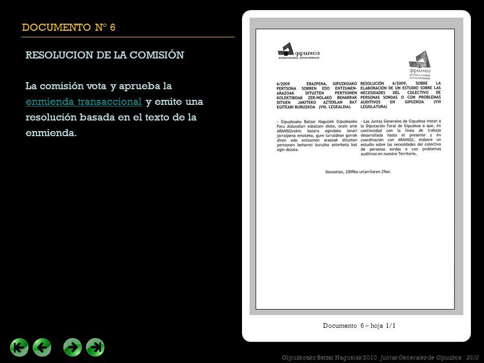 DOCUMENTO Nº 6 RESOLUCION DE LA COMISIÓN La comisión vota y aprueba la enmienda transaccional y emite una resolución basada en el texto de la enmienda.