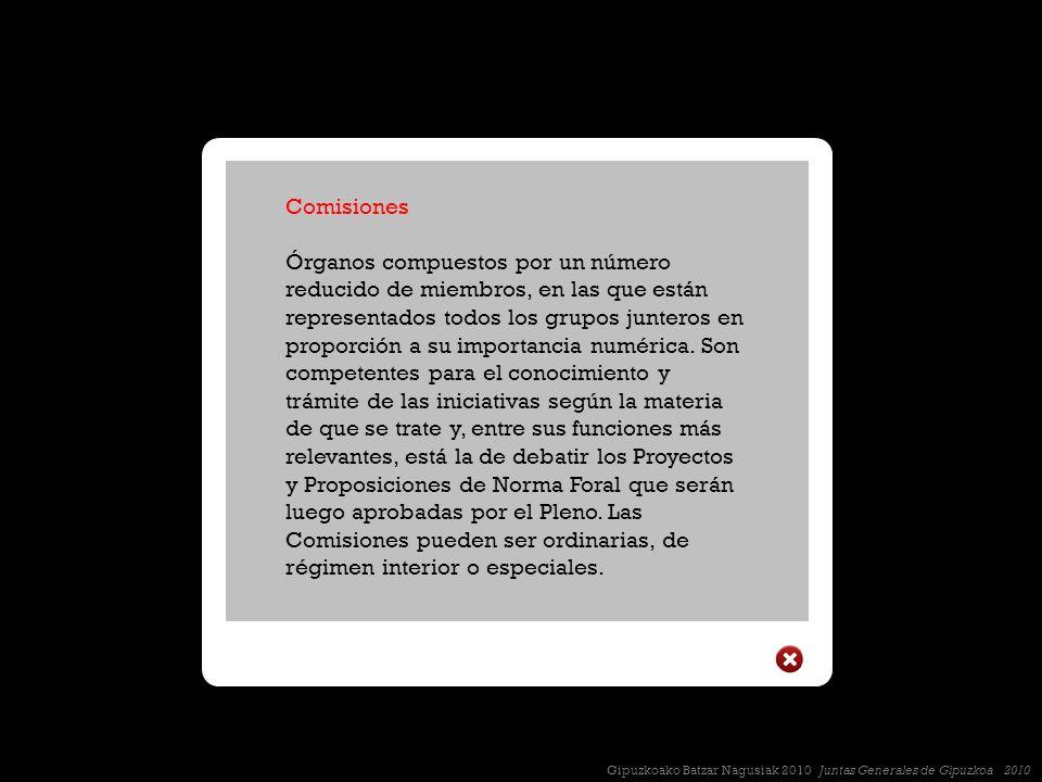 Comisiones Órganos compuestos por un número reducido de miembros, en las que están representados todos los grupos junteros en proporción a su importancia numérica.
