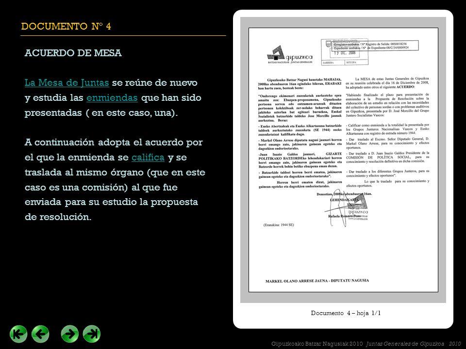 DOCUMENTO Nº 4 ACUERDO DE MESA La Mesa de JuntasLa Mesa de Juntas se reúne de nuevo y estudia las enmiendas que han sido presentadas ( en este caso, una).enmiendas A continuación adopta el acuerdo por el que la enmienda se califica y se traslada al mismo órgano (que en este caso es una comisión) al que fue enviada para su estudio la propuesta de resolución.califica Documento 4 – hoja 1/1 Gipuzkoako Batzar Nagusiak 2010 Juntas Generales de Gipuzkoa 2010