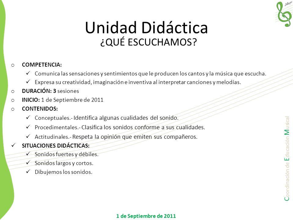 C oordinación de E ducación M usical 1 de Septiembre de 2011 Unidad Didáctica ¿QUÉ ESCUCHAMOS? o COMPETENCIA: Comunica las sensaciones y sentimientos