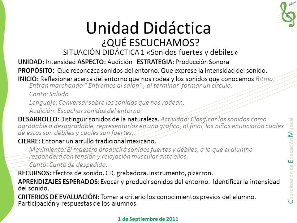 C oordinación de E ducación M usical 1 de Septiembre de 2011 UNIDAD: DuraciónASPECTO: RitmoESTRATEGIA: Movimiento PROPÓSITOS: Que el alumno sea capaz de manifestar vocal y corporalmente la duración sonora.