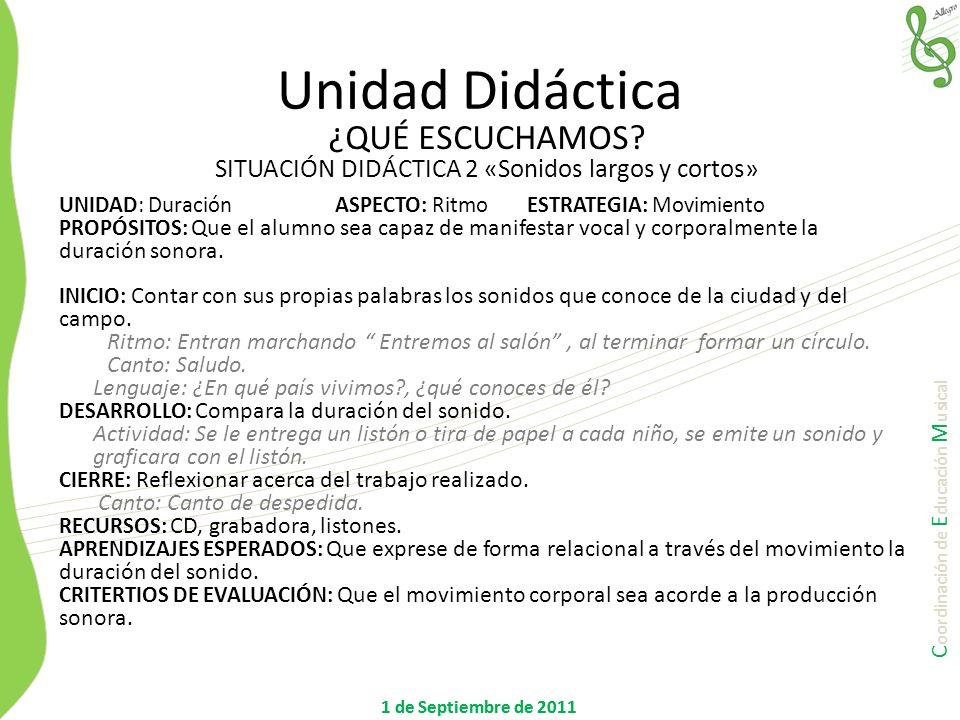 C oordinación de E ducación M usical 1 de Septiembre de 2011 UNIDAD: DuraciónASPECTO: RitmoESTRATEGIA: Movimiento PROPÓSITOS: Que el alumno sea capaz