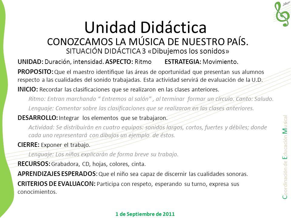 C oordinación de E ducación M usical 1 de Septiembre de 2011 UNIDAD: Duración, intensidad. ASPECTO: Ritmo ESTRATEGIA: Movimiento. PROPOSITO: Que el ma