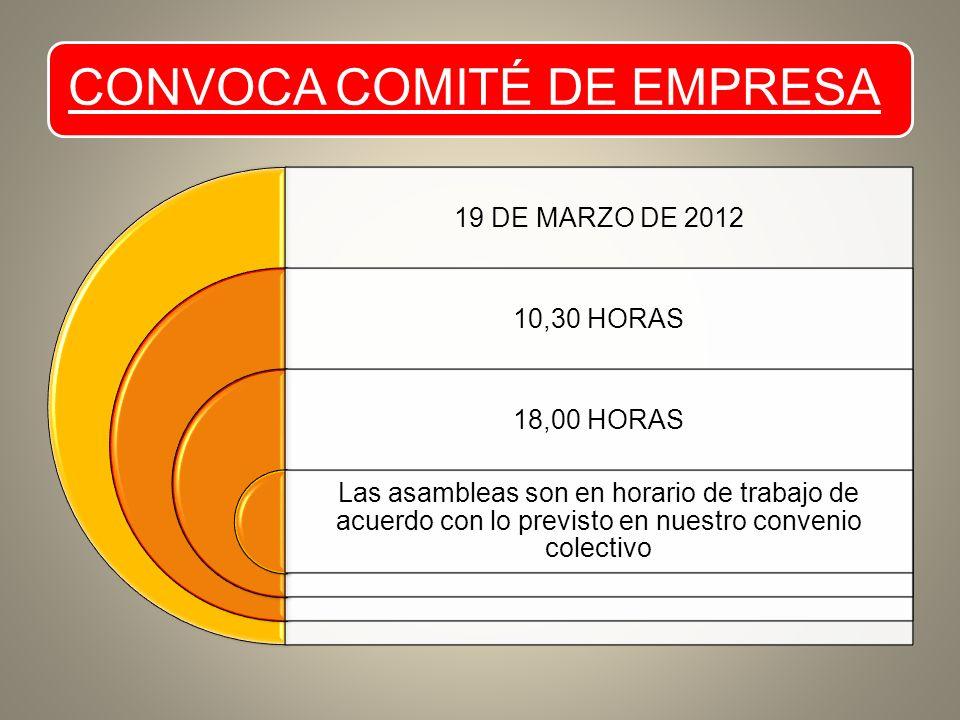 CONVOCA COMITÉ DE EMPRESA 19 DE MARZO DE 2012 10,30 HORAS 18,00 HORAS Las asambleas son en horario de trabajo de acuerdo con lo previsto en nuestro convenio colectivo