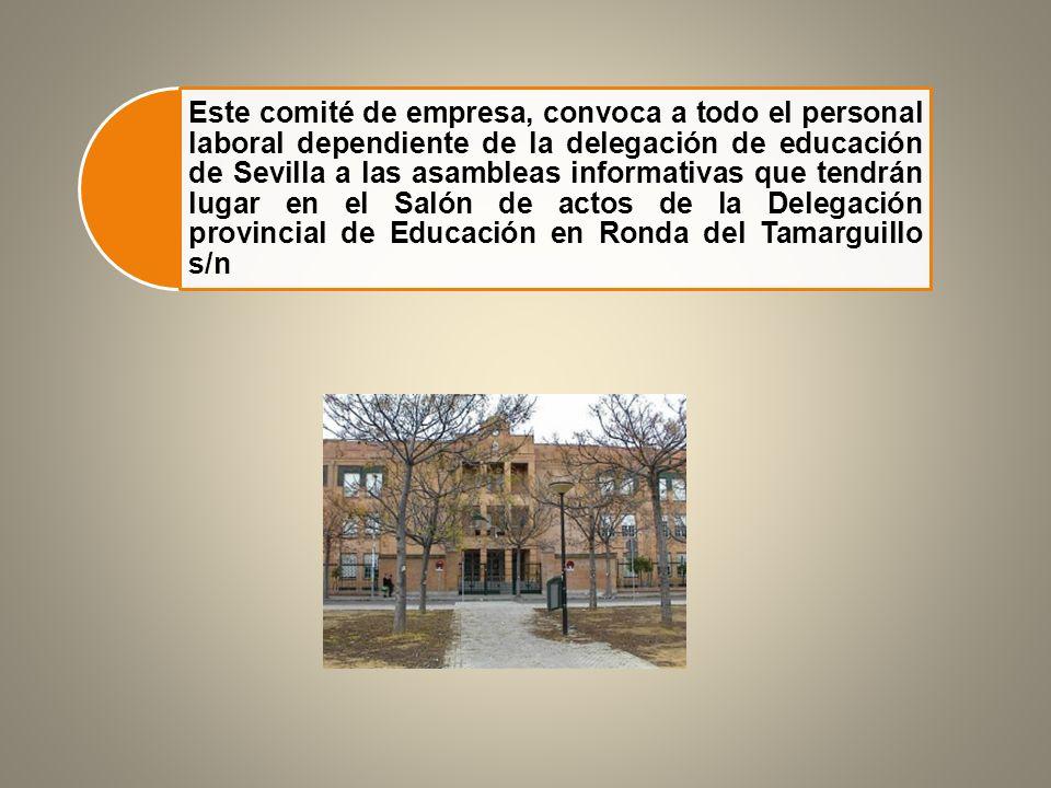 Este comité de empresa, convoca a todo el personal laboral dependiente de la delegación de educación de Sevilla a las asambleas informativas que tendrán lugar en el Salón de actos de la Delegación provincial de Educación en Ronda del Tamarguillo s/n