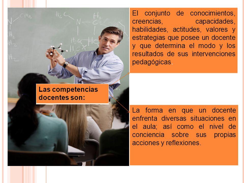 El conjunto de conocimientos, creencias, capacidades, habilidades, actitudes, valores y estrategias que posee un docente y que determina el modo y los