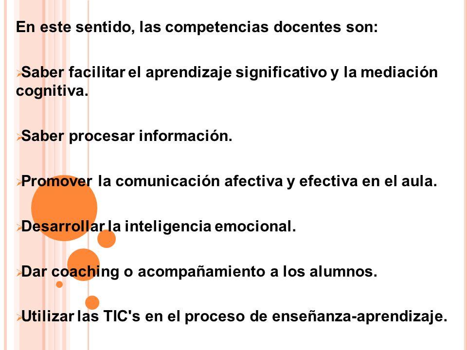 En este sentido, las competencias docentes son: Saber facilitar el aprendizaje significativo y la mediación cognitiva. Saber procesar información. Pro