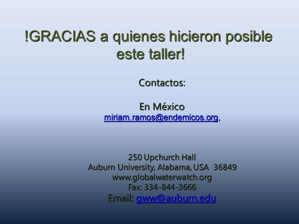 Contactos: En México miriam.ramos@endemicos.orgmiriam.ramos@endemicos.org, miriam.ramos@endemicos.org 250 Upchurch Hall Auburn University, Alabama, US