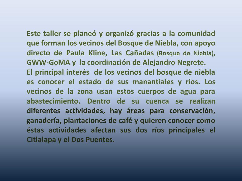 Este taller se planeó y organizó gracias a la comunidad que forman los vecinos del Bosque de Niebla, con apoyo directo de Paula Kline, Las Cañadas (Bo
