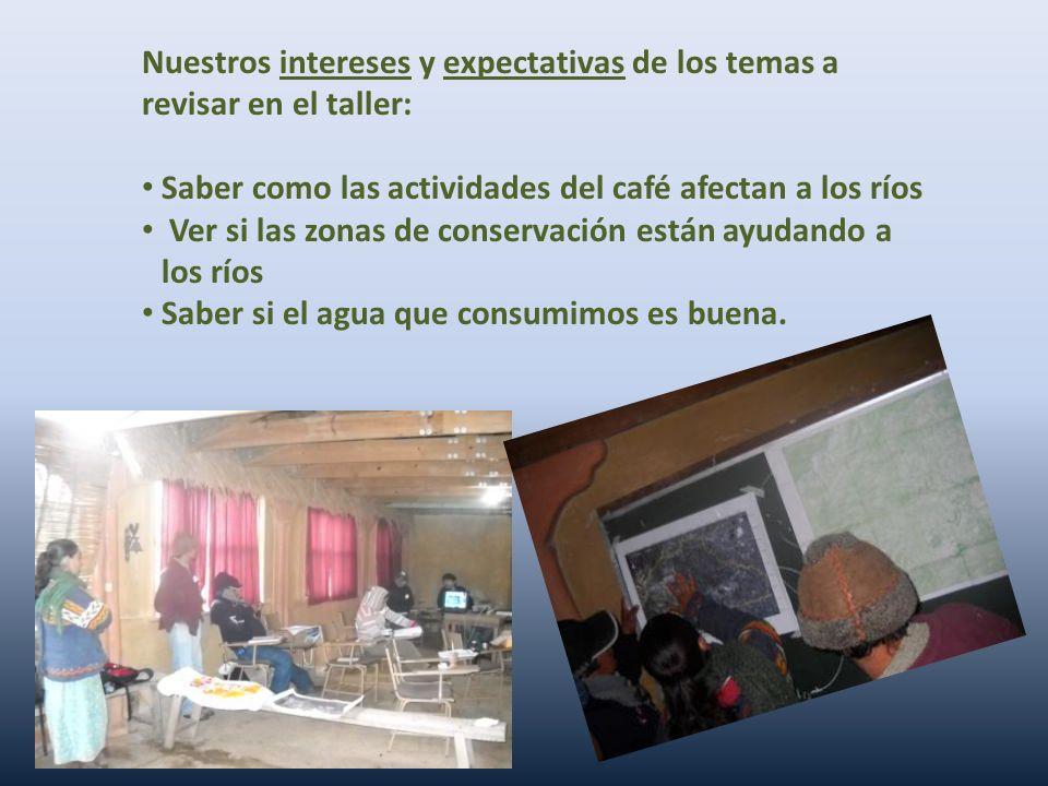 Nuestros intereses y expectativas de los temas a revisar en el taller: Saber como las actividades del café afectan a los ríos Ver si las zonas de cons