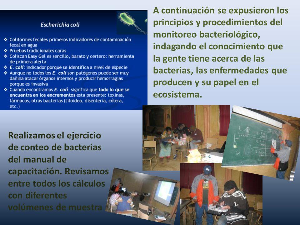 A continuación se expusieron los principios y procedimientos del monitoreo bacteriológico, indagando el conocimiento que la gente tiene acerca de las