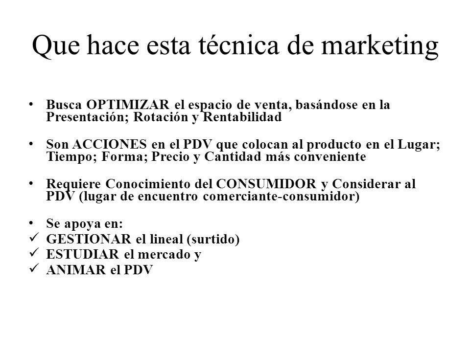 Que hace esta técnica de marketing Busca OPTIMIZAR el espacio de venta, basándose en la Presentación; Rotación y Rentabilidad Son ACCIONES en el PDV que colocan al producto en el Lugar; Tiempo; Forma; Precio y Cantidad más conveniente Requiere Conocimiento del CONSUMIDOR y Considerar al PDV (lugar de encuentro comerciante-consumidor) Se apoya en: GESTIONAR el lineal (surtido) ESTUDIAR el mercado y ANIMAR el PDV