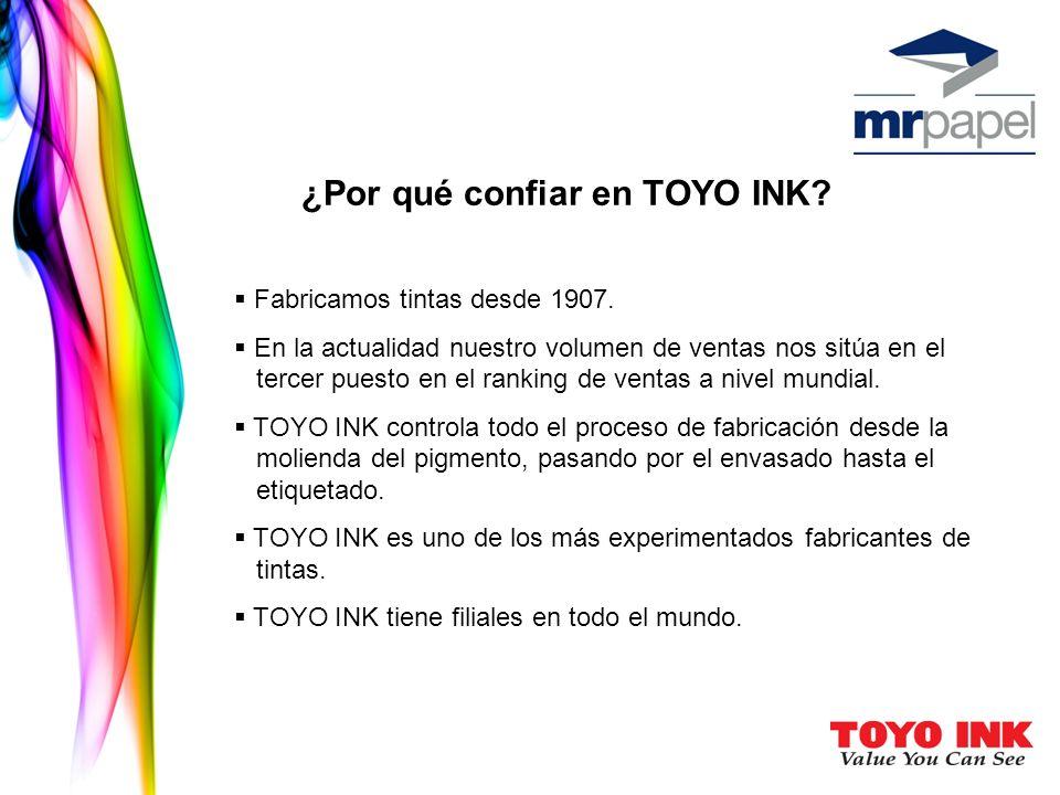 ¿Por qué confiar en TOYO INK? Fabricamos tintas desde 1907. En la actualidad nuestro volumen de ventas nos sitúa en el tercer puesto en el ranking de