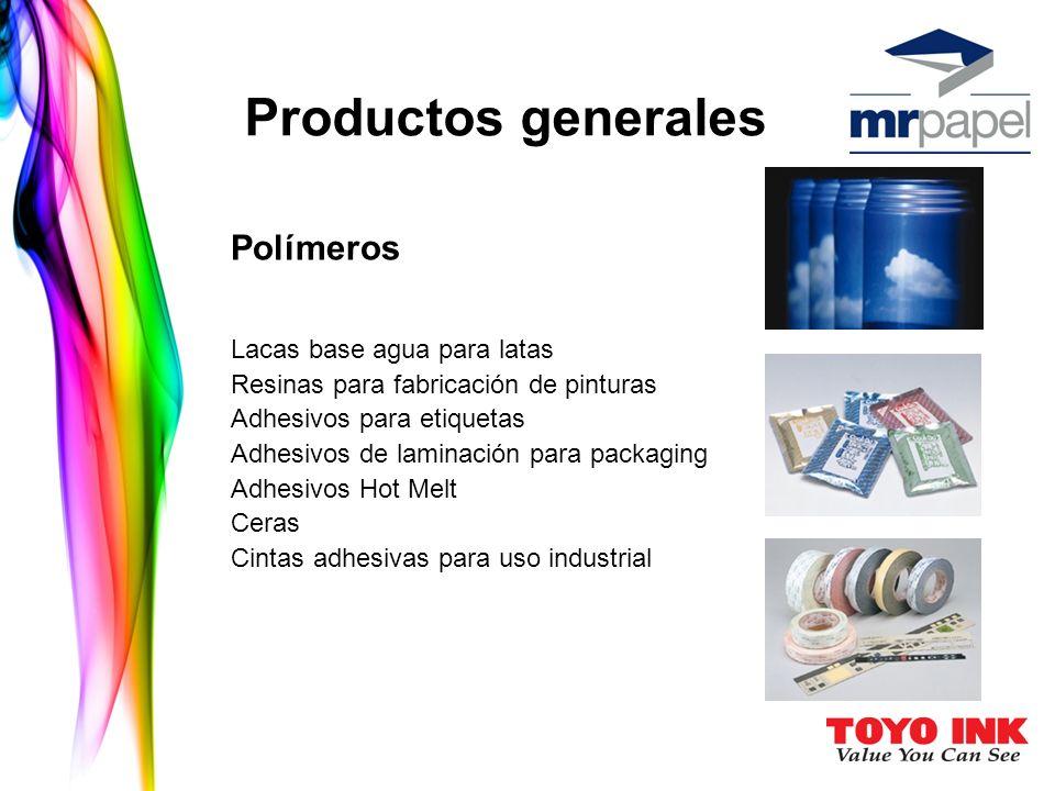 Polímeros Lacas base agua para latas Resinas para fabricación de pinturas Adhesivos para etiquetas Adhesivos de laminación para packaging Adhesivos Hot Melt Ceras Cintas adhesivas para uso industrial