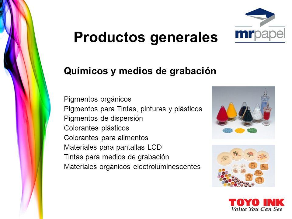 Productos generales Químicos y medios de grabación Pigmentos orgánicos Pigmentos para Tintas, pinturas y plásticos Pigmentos de dispersión Colorantes plásticos Colorantes para alimentos Materiales para pantallas LCD Tintas para medios de grabación Materiales orgánicos electroluminescentes