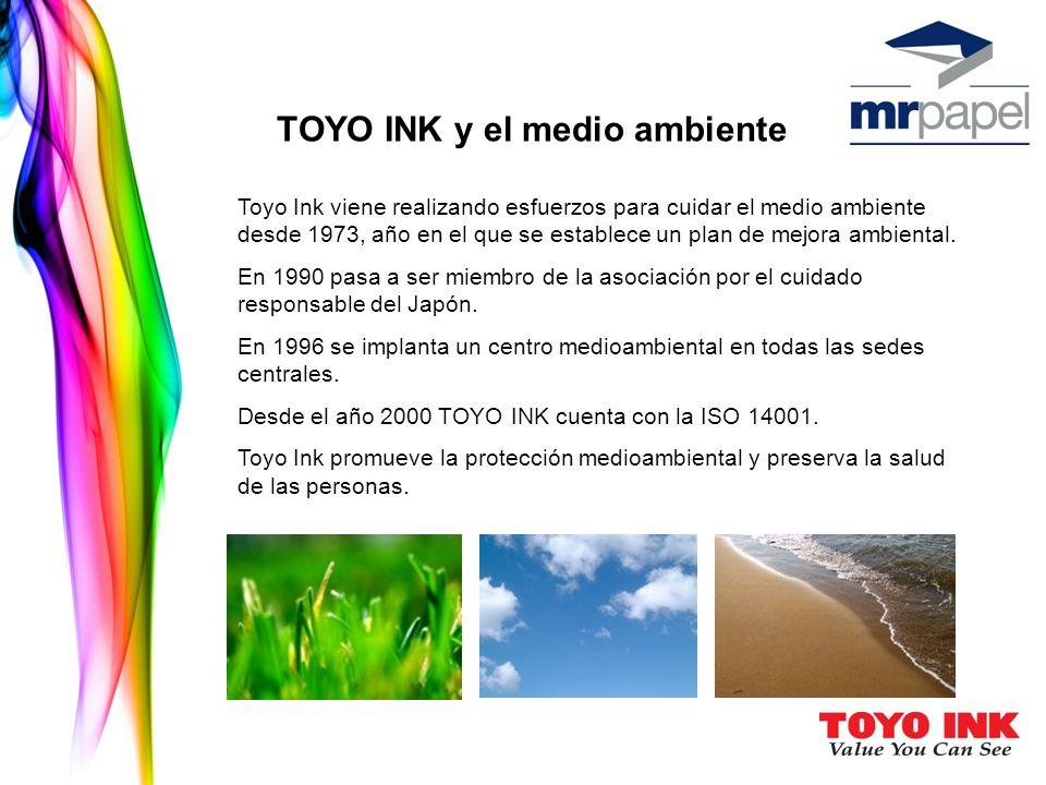 TOYO INK y el medio ambiente Toyo Ink viene realizando esfuerzos para cuidar el medio ambiente desde 1973, año en el que se establece un plan de mejora ambiental.