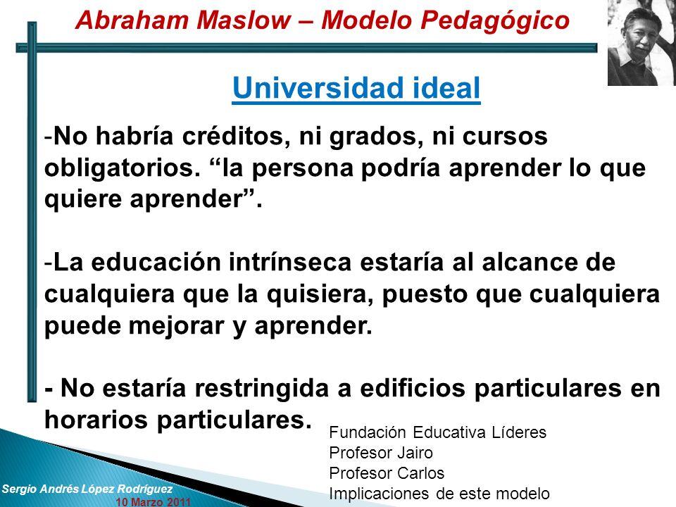 Sergio Andrés López Rodríguez 10 Marzo 2011 Universidad ideal -No habría créditos, ni grados, ni cursos obligatorios. la persona podría aprender lo qu