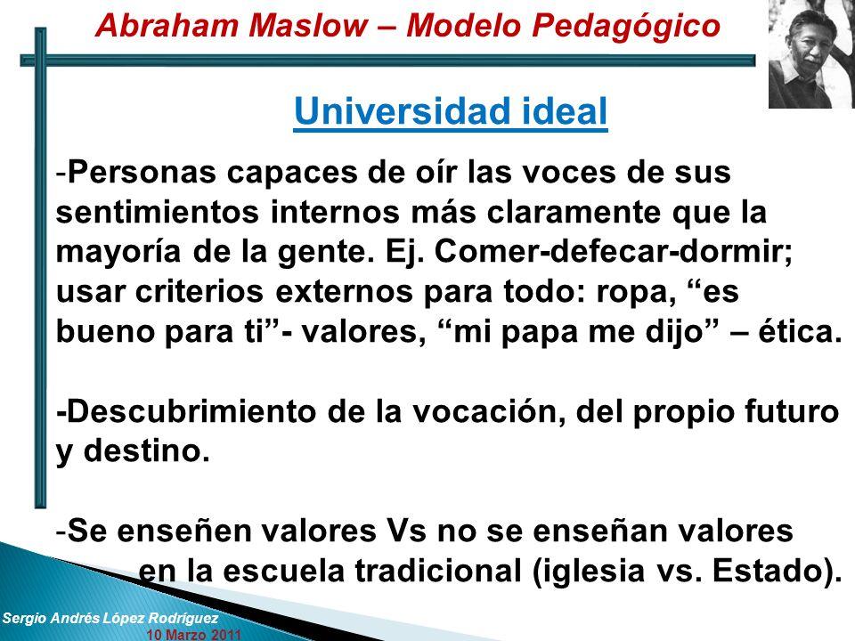 Sergio Andrés López Rodríguez 10 Marzo 2011 Universidad ideal -Personas capaces de oír las voces de sus sentimientos internos más claramente que la ma