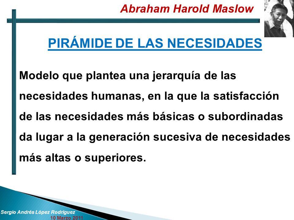 Abraham Harold Maslow Sergio Andrés López Rodríguez 10 Marzo 2011 PIRÁMIDE DE LAS NECESIDADES Modelo que plantea una jerarquía de las necesidades huma