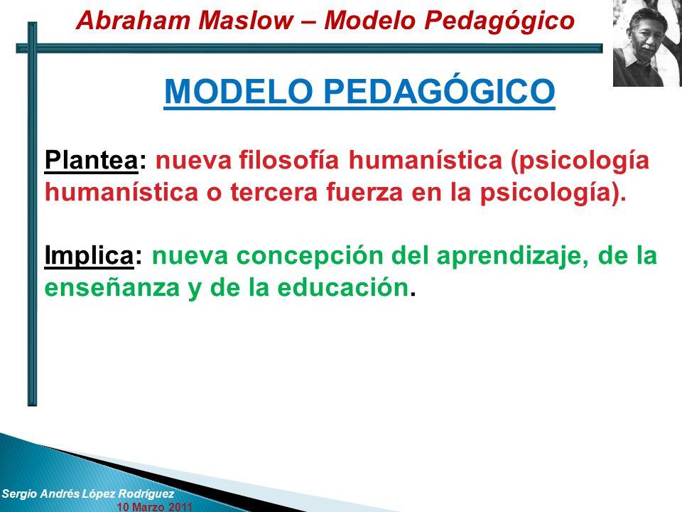 Abraham Maslow – Modelo Pedagógico Sergio Andrés López Rodríguez 10 Marzo 2011 MODELO PEDAGÓGICO Plantea: nueva filosofía humanística (psicología humanística o tercera fuerza en la psicología).