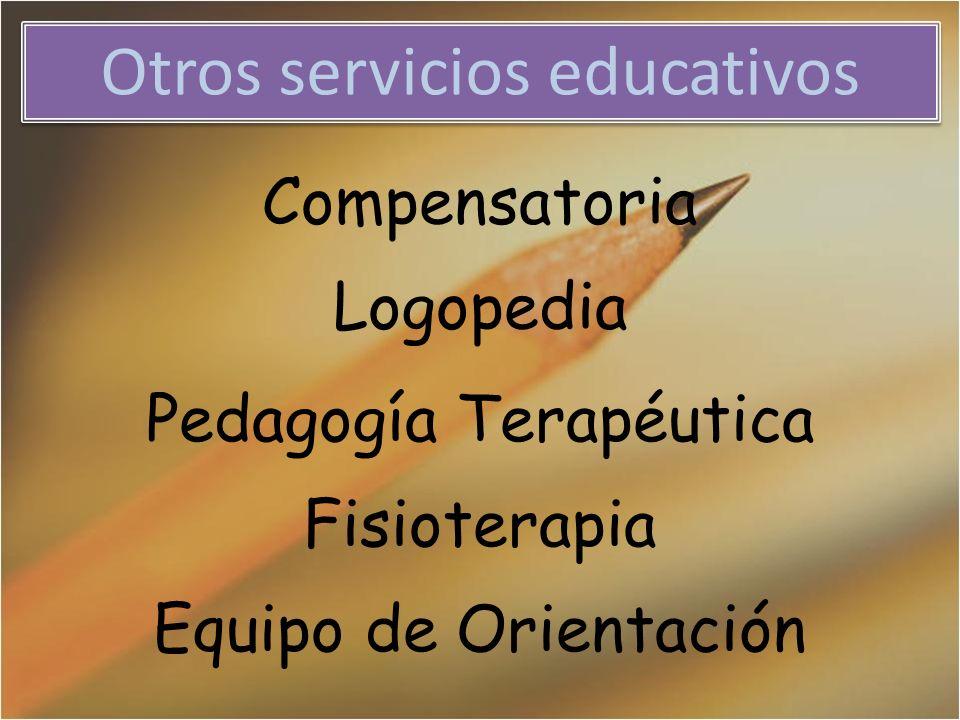 Otros servicios educativos Compensatoria Logopedia Pedagogía Terapéutica Fisioterapia Equipo de Orientación